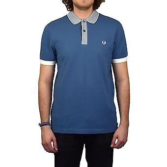 Fred Perry Stripe Collar Pique Polo Shirt (Washed Dusk)