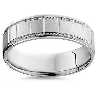 Mens 14K White Gold Brushed Comfort Wedding Band Ring