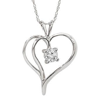 1/3Ct Solitaire Round Diamond Heart Pendant & Chain 14K White Gold 1