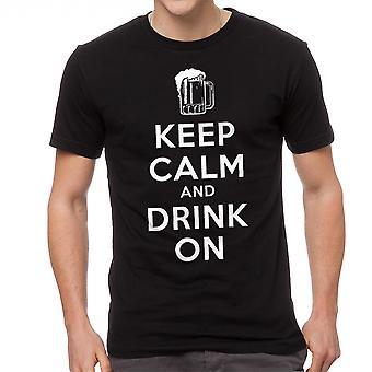 Humor houden rustige drankje op mannen zwart T-shirt