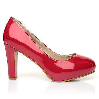 LOVE Red Patent PU Leather Slim-Block High Heel Platform Court Shoes