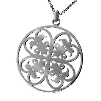 Łańcuch Orphelia srebro 925 wisiorek wisior duży okrąg czarny Rhodiumplated ZH-6035/3