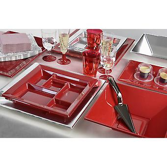 Party tableware set for 8 guests 110-teilig party package red silver party package