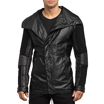 Mens lightweight jacket leather look knit collar style leather jacket black
