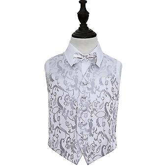 Silver Floral Wedding Waistcoat & Bow Tie Set for Boys