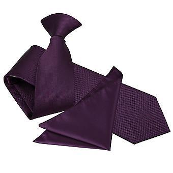 Cadbury lila solide Check Clip auf schlanke Krawatte & Einstecktuch Satz