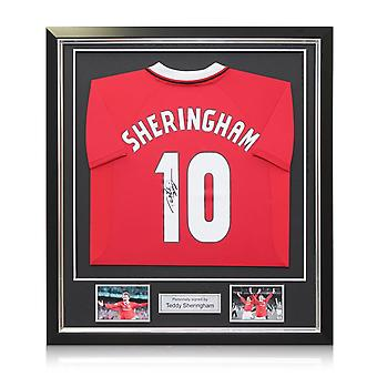 Teddy Sheringham Back Signed 1999 Manchester United Football Shirt In Deluxe Black Frame With Silver Inlay