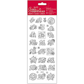 Papermania Create Christmas Colour In Stickers-Advent Numbers
