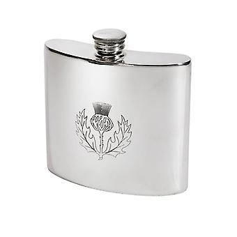 Standard Thistle Embossed Kidney Pewter Flask - 6oz