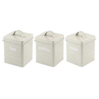Apollo Set of 3 Square Ribbed Canisters, Grey