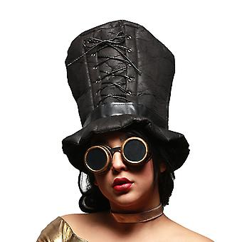 Corset Gothique garniture grand chapeau mou brun Steampunk & Googles Set