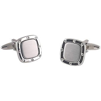 David Van Hagen Rounded Square Screw Cufflinks - Silver