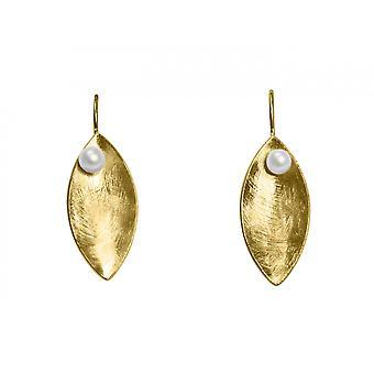Gemshine - Damen - Ohrringe - Ohrhänger - 925 Silber - Vergoldet - Marquise - Minimalistisch - Design - Perle - Weiß - 3 cm