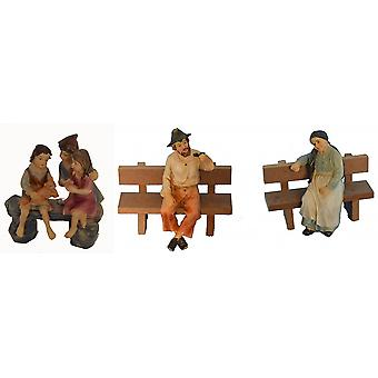 Crib Nativity scene figurines grandmother, grandfather and children on bench