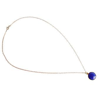 Onyx gemstone Necklace blue Onyx gold plated necklace ladies necklace