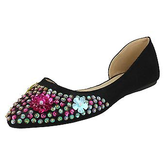 Ladies Spot On Sequin Ballerinas - Black Textile - UK Size 7 - EU Size 40 - US Size 9