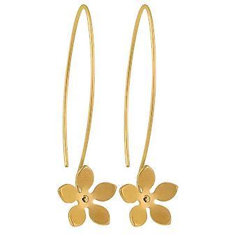 Ti2 Titanium 13mm Five Petal Flower Drop Earrings - Tan Beige