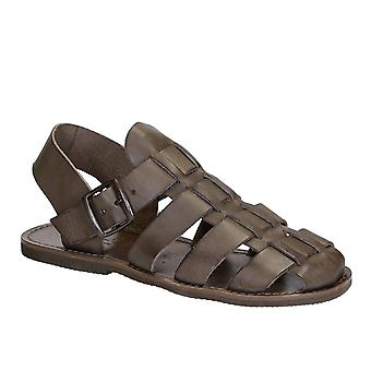 Handmade in Italy men's Franciscan sandals in mud color leather