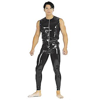 Honour Men's T Shirt Top in Black Latex Rubber Sleeveless Zip Front