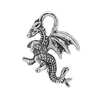 Packet 10 x Antique Silver Tibetan 21mm Dragon Charm/Pendant ZX04090