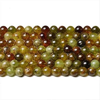 Strand 90+ Green/Brown Garnet 4mm Plain Round Beads CB42293-1