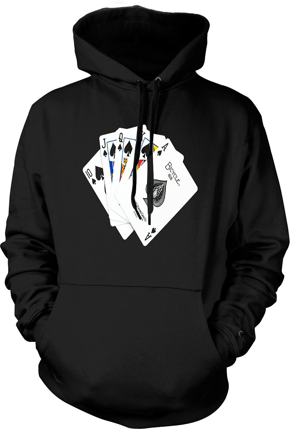 Mens Hoodie - Poker Royal Flush