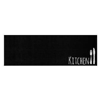 Wasbaar keuken runner keuken bestek zwart 50 x 150 cm