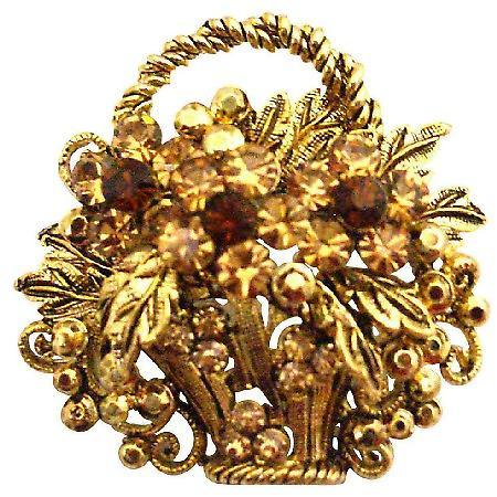 Antique Gold Basket Smoked Topaz & Colorado Crystals Jacket Brooch Pin