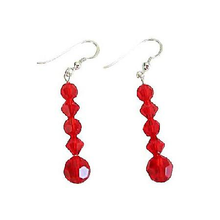 Swarovski Siam Red Crystals Earrings Sterling Silver Earrings