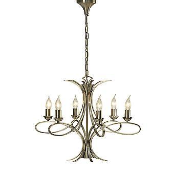 Penn Brushed Brass Six Light Ceiling Pendant - Interiors 1900 CA7P6BB