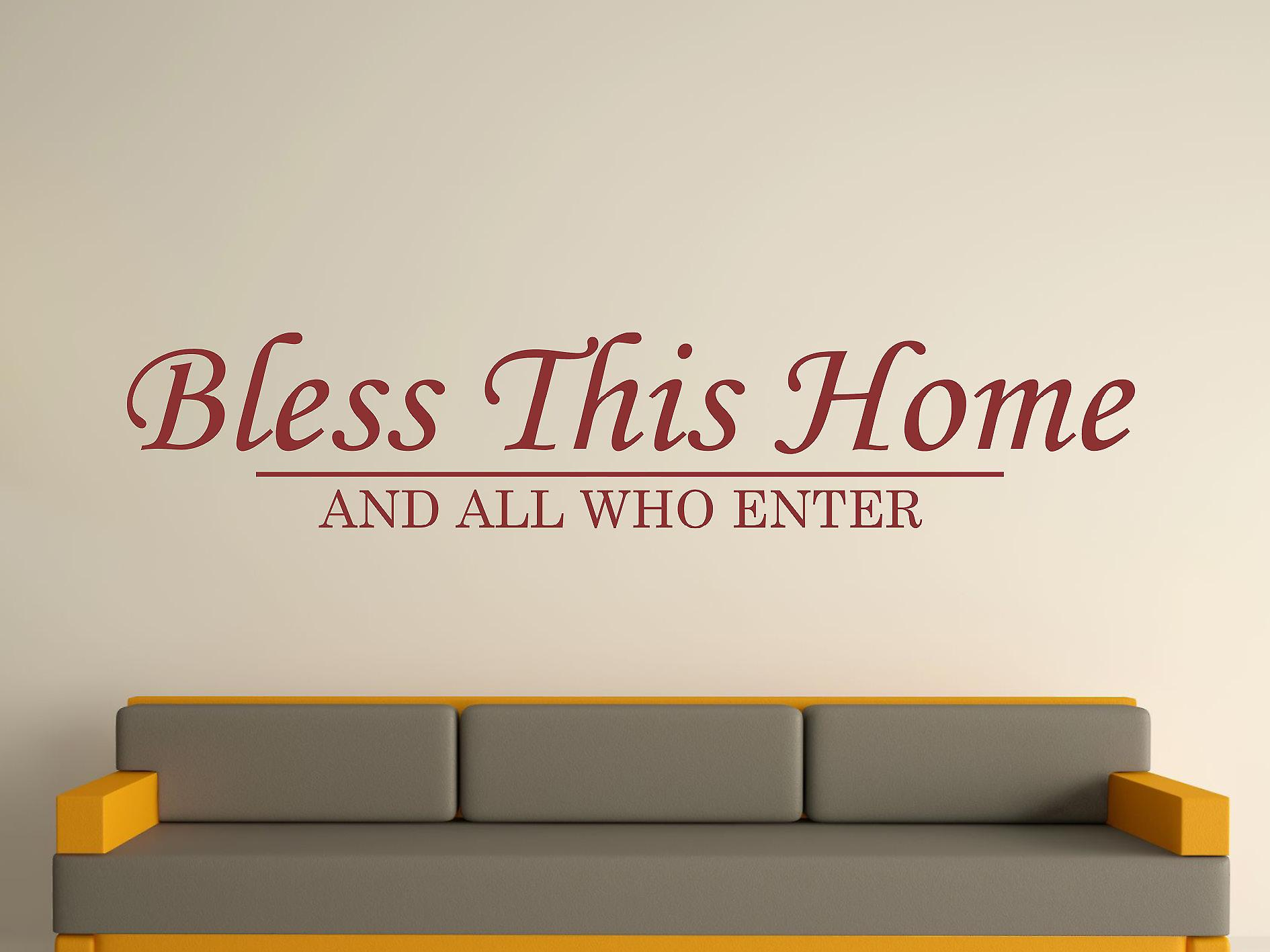 Bless This Home Wall Art Sticker - Burgundy