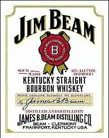 Jim Beam White Label Metal Sign