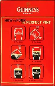 Guinness - How to Pour metal steel sign  (41 pt)