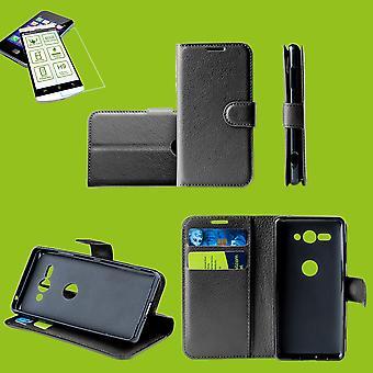Für Sony Xperia XA1 Plus Tasche Wallet Premium Schwarz Schutz Hülle Case Cover Etui + 0,26mm H9 2.5 Hart Glas