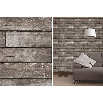 Fine Decor Silver Wooden Plank Realistic Wood Design Vinyl Wallpaper