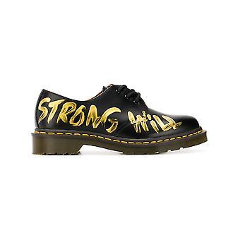 Comme Des Garçons Black/gold Leather Lace-up Shoes