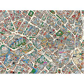 Stadsbilder Street karta över Birmingham 400 bit pussel 470 x 320 mm (HTF)
