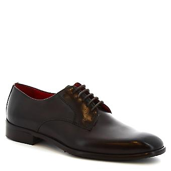 Skor för män Leonardo handgjord fyrkantig tå derbyn i mörkt brunt kalvskinn