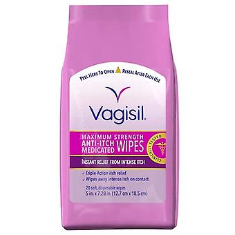 Vagisil medicated wipes, anti-itch, maximum strength, 20 ea