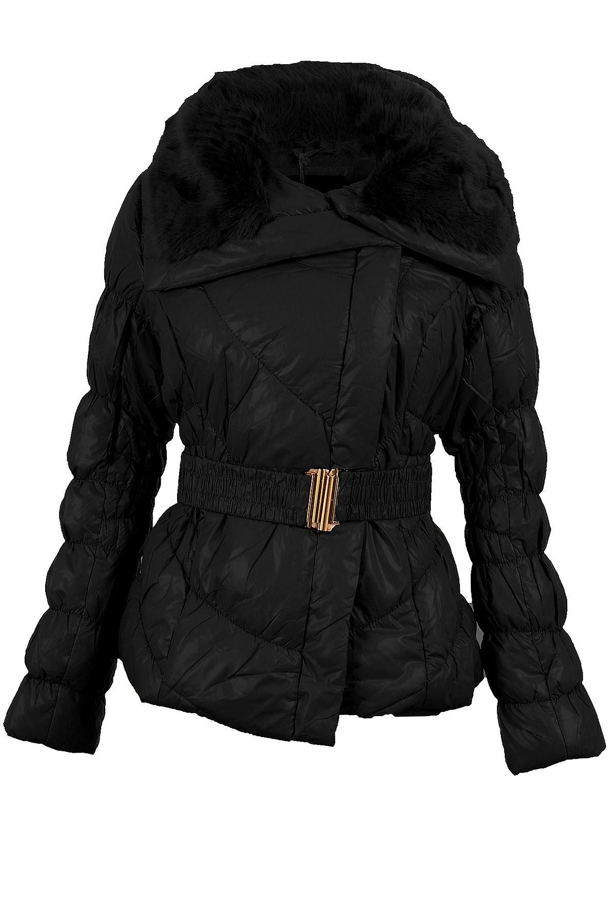 Ladies Quilted Padded Puffer Fur Collar Belted Zip Womens Winter Warm Jacket