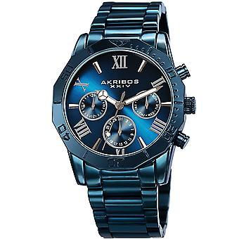 Akirbos XXIV AK1054BLU Men's Quartz Multifunction Stainless Steel Blue Bracelet Watch