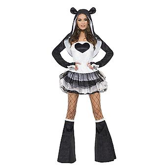 Fever Kollektion Panda Kostüm Damen mit Tutu Kleid und abnehmbaren durchsichtigen Trägern Jacke und Stulpen Damenkostüm