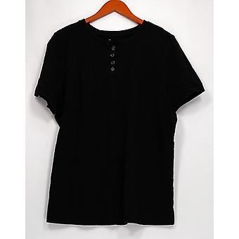 Denim et Cie Femmes Top Essentials Button Henley Short Black A291613