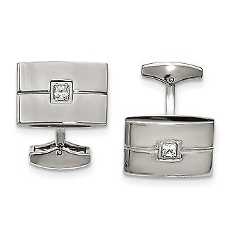 Stainless Steel Polished Cubic Zirconia Cuff Links