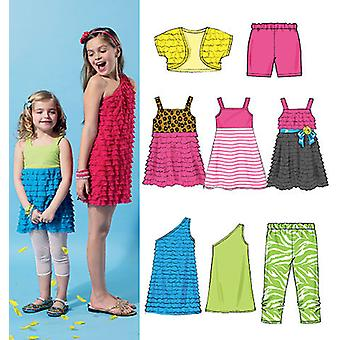 Children's Girls' Shrug, Top, Dresses, Shorts And Leggings  Cce 3  4  5  6 Pattern M6547  Cce