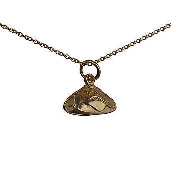 9ct Gold 7x14mm Oyster Shell Pendant with a cable Chain 16 inches Only Suitable for Children