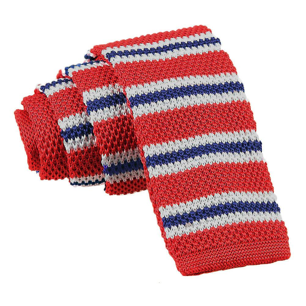 Knitted Red with Blue & White Thin Stripe Tie