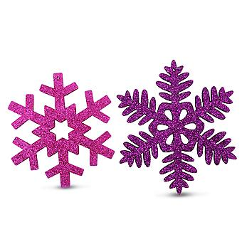 Set of Two Wooden Snowflake Tree Decorations with Purple & Pink Glitter Finish