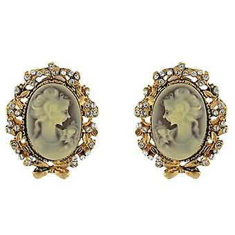 Clip On Earrings Store Large Oval Cameo Crystal Clip On Earrings (Gold)