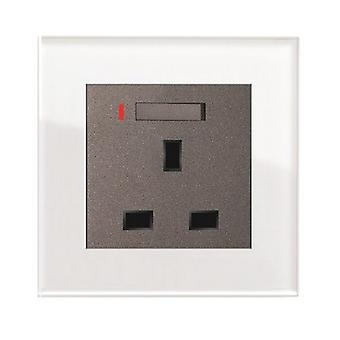 I LumoS AS Luxury White Crystal Glass  Single Switched with Neon Wall Plug  13A UK Sockets